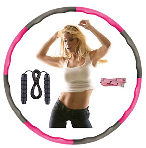 COLLAPSIBLE 1KG WEIGHTED HULA HOOP FITNESS PADDED FOAM EXERCISE GYM WORKOUT PINK
