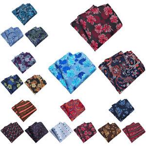 3 PCS Men Stylish Floral Stripe Pocket Square Handkerchief Wedding Party Hanky