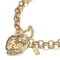 18K Yellow Gold GL Womens Med Solid Belcher Bracelet with Filigree Heart Padlock
