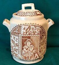 Aesthetic Transferware Child's Tea Set Biscuit Jar 2 - Brown & White