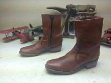 VINTAGE DINGO DISCO USA BROWN LEATHER ZIP UP ENGINEER BOSS BEATLE BOOTS 9.5 D
