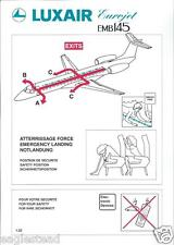 Safety Card - Luxair - EMB 145 Eurojet - 2 Brace Position version (S3576)