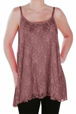 Womens Casual Sleeveless Floral Print Lace Mesh Spaghetti Strap Blouse Tunic Top