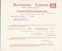 SCHWEPPES LIMITED, Marble Arch Hse 1928 Perpetual Stock Interest Receipt Rf45954