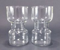 """2 Corning Pyrex Clear Glass 5"""" Uncandle Candle Holders"""