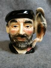 """Porcelain Character Mug, Bearded Man with a Duck/Goose Handle, 5"""" Tall, Made in"""