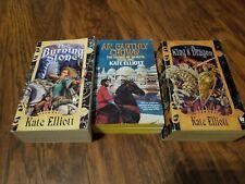 Lot of 3 Kate Elliott paperbacks, King's Dragon, The Burning Stone, An Earthly C