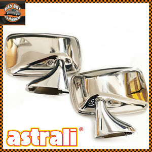Pair Polished Stainless Steel Flat Door Mirrors OE Quality For CLASSIC MINI