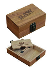 RAW Improved Design Maple Wood Rolling Paper Storage Box w/ Magnetic Stash