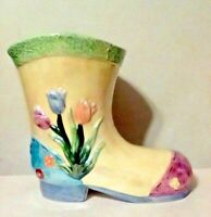 "Boot Shaped Planter Vase Yellow Flowers Shovel Pick Decorative Glazed 8 1/4"" H"
