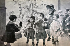 J. Geoffroy CHRISTMAS at DAY SCHOOL Jack in Box CHILD 1889 Antique Print Matted