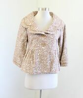 NWT Elevenses Anthropologie Tan Brown White Floral Swing Jacket Size 6 Cropped