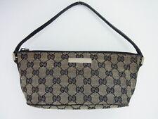 Auth GUCCI GG Canvas Leather Accessory Pouch Pochette Mini Hand Bag Italy (i