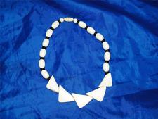 Vintage Faux Ivory & Onyx Ebony Choker Necklace Cream Black Beaded Bead 20225