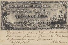 BRAZIL BANKNOTE 30 MIL REIS BILHETE POSTAL LIVRARIA ECONOMICA