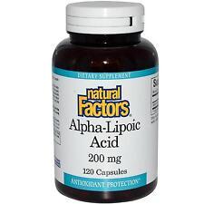 Factores naturales ácido alfa-lipoico -120 Cápsulas - 200mg-protección Antioxidante