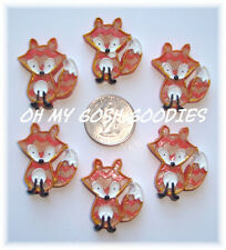 6PC WHAT DOES THE FOX SAY CHEVRON FLATBACK FLAT BACK RESINS 4 HAIRBOW BOW CENTER