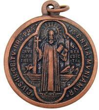 "MRT St Benedict  Large Bronze Pendant Medal Protection Saint Gift 1"" Italian"