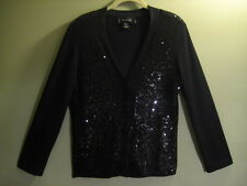 ST JOHN Crystal Stone Buttons PF 10 GRP 1 Black Sequin Sweater/Cardigan M
