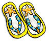 FLIP FLOPS W/STARFISH EMBROIDERED IRON ON APPLIQUE