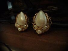 Vintage Jewellery Teardrop Pearl Clip Earrings with Gold Flowers. Haskell