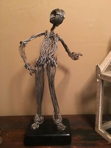 "Midcentury Wire Art Man Sculpture 15.5"" Vintage"