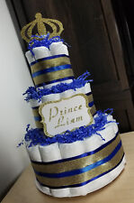 3 Tier Diaper Cake - Blue and Gold Custom Prince Theme Diaper Cake for Baby Boy