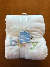 Carter's Snuggly Soft Plush White Baby Blanket