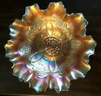 """ANTIQUE DUGAN """"DOUBLE STEM ROSE"""" DOME FOOTED CARNIVAL GLASS BOWL 9"""" FLUTED EDGE"""