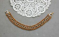 """Kramer Rhinestone Bracelet Citrine Golden Topaz 7 3/8"""" x 1/2"""" Gold Tone Vintage"""