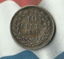 1890 Netherlands 10 Cents- 64% Silver-  Nice toned 130 year old silver coin~~