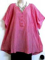 NWT Red Pop & White Loose Lightweight Summer Casual Tunic Top Kim Rogers Plus 3X