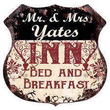 BPLI0491 Mr & Mrs YATES INN Bed & Breakfast Custom Personalized Tin Sign