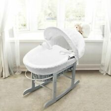 Elegant Baby Wicker Padded Moses Basket and Rocking Stand - White/Grey