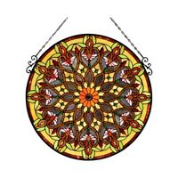 Window Panel Round Victorian Floral Tiffany Style Stained Glass  ONE THIS PRICE