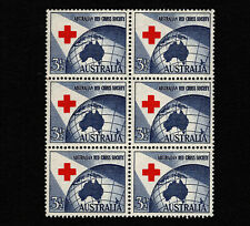 Opc 1954 Australia 3 1/2d Red Cross Block of 6 Sc#271 Sg#276 Mnh