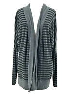 Three Dots Women's Black & Gray Striped Long Sleeve Cardigan Sweater Size Small