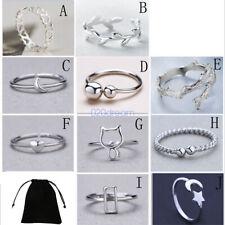 .925 Sterling Silver Adjustable Band Stacking Midi/Index/Little Ring Finger Gift