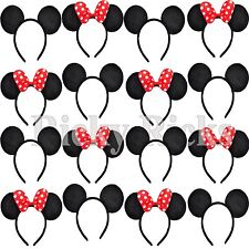 20 Minnie and Mickey Ears Headbands Black RED Bows Party Costume Favors