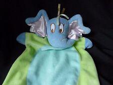 Dr. Seuss HORTON ELEPHANT Baby Blanket Lovey Security Green Blue Manhattan Toy