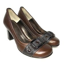 "NWOB SOFFT Sz 6 M Brow Leather Buckle Detail 2.8"" Pumps Slip On Women's Shoes"