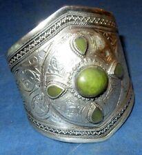 "Bracelet Olivenite Gemstone Cuff Afghan Kuchi Tribal Alpaca Silver 3"" dia"