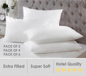 Luxury Duck Feather & Down Pillows Hotel Quality Firm Support Extra Filling