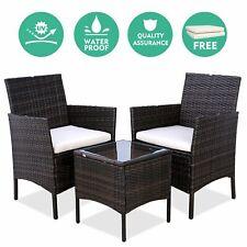 3pcs Patio Bistro Set Wicker Furniture Rattan Conversation Sofa Chairs w/ Table