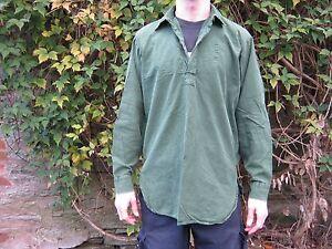 Swedish Army Grandad Shirt Olive Green Long Sleeve Button Neck Military Surplus
