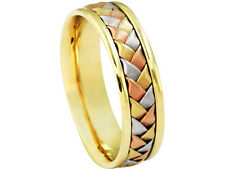 Tricolor 18K White Yellow Rose Gold Wedding Band Woven 6mm Comfort Fit Ring