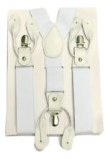 Mens Suspenders Braces with Clip & Syntheti Leather Button ON Strong 3.5 cm Wide