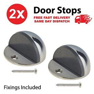 2 x Set Door Stop Floor Mounted Door Stopper Chrome Stainless Steel Rubber Stops