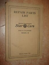 1926 STAR CARS MODEL M FOUR CYLINDER PARTS BOOK CATALOG ORIGINAL NUMBERS LIST