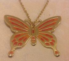 """Tono Oro de inspiración vintage Naranja Grande 3"""" declaración Colgante Collar de mariposa"""